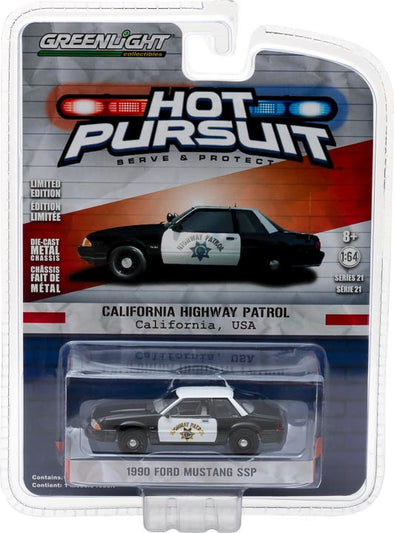 GreenLight 1/64 Hot Pursuit Series 21 - 1990 Ford Mustang SSP - California Highway Patrol Solid Pack #42780-B