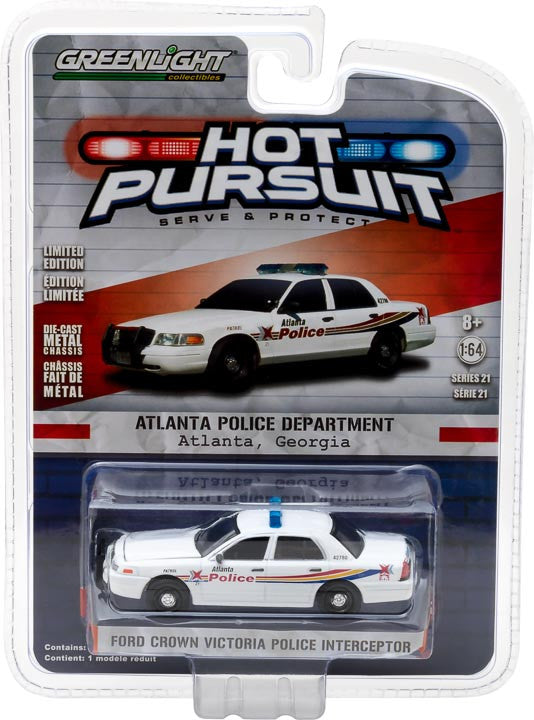 GreenLight 1/64 Hot Pursuit Series 21 - 2008 Ford Crown Victoria Police Interceptor - Atlanta, Georgia Solid Pack #42780-C