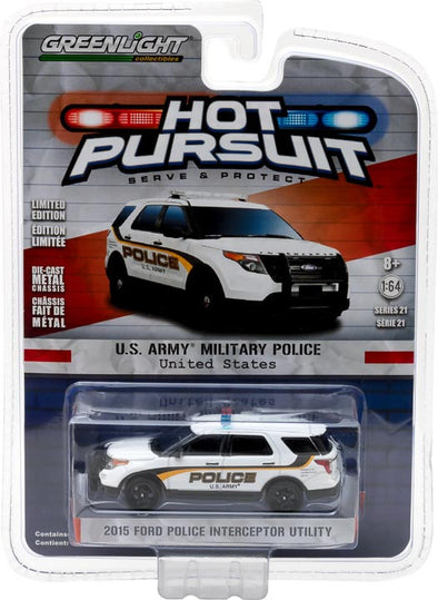 GreenLight 1/64 Hot Pursuit Series 21 - 2015 Ford Police Interceptor Utility - U.S. Army Solid Pack  #42780-F
