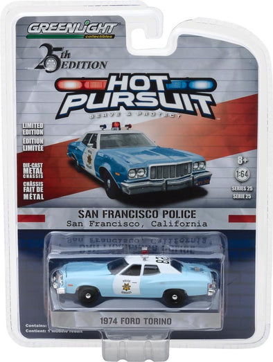 GreenLight 1/64 Hot Pursuit Series 25 - 1974 Ford Torino San Francisco, California Police Solid Pack #42820-A