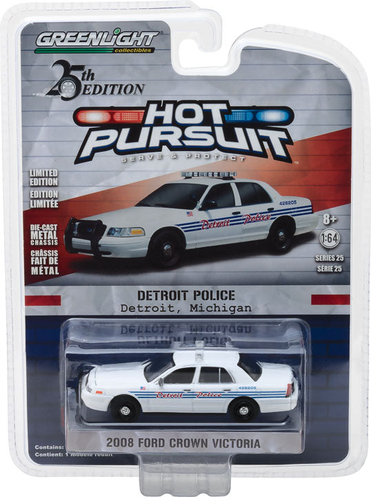 GreenLight Hot Pursuit Series 25 - 2008 Ford Crown Victoria Police Interceptor Detroit, Michigan Police Solid Pack #42820-E