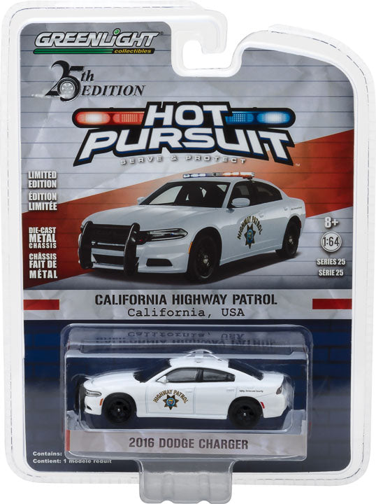GreenLight 1/64 Hot Pursuit Series 25 - 2016 Dodge Charger California Highway Patrol Solid Pack #42820-F