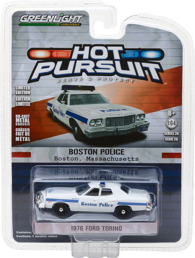 GreenLight 1/64 Hot Pursuit Series 26 - 1976 Ford Torino Boston Massachusetts Police Solid Pack #42830-A