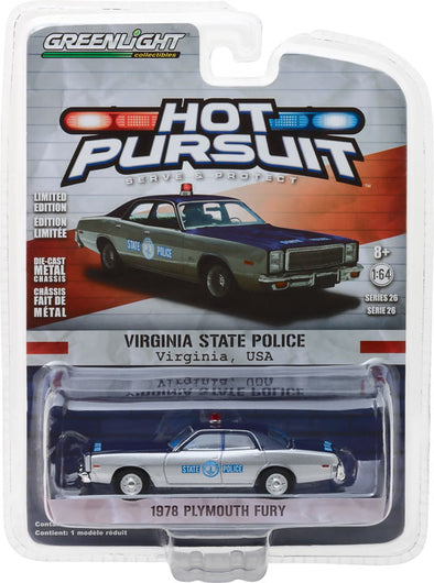 GreenLight 1/64 Hot Pursuit Series 26 - 1978 Plymouth Fury Virginia State Police Solid Pack #42830-C