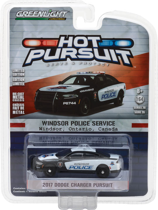 GreenLight 1/64 Hot Pursuit Series 26 - 2017 Dodge Charger Pursuit - Windsor, Ontario, Canada 150th Anniversary Edition Solid Pack #42830-F