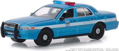 GreenLight 1/64 Hot Pursuit Series 31 - 2010 Ford Crown Victoria Police Interceptor - Seatlle, Washington Police Solid Pack #42880-D