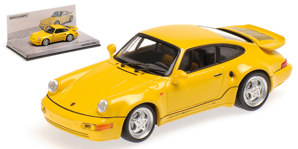 Minichamps 1/43 PORSCHE 911 TURBO S 3.3 (964) - 'LEICHTBAU' - 1992 - YELLOW - 436069170