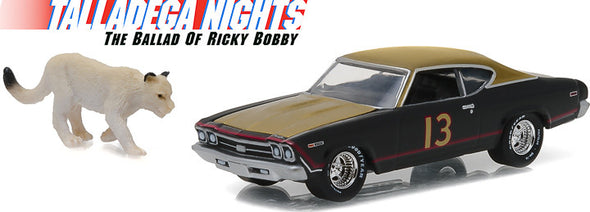 GreenLight 1/64 Hollywood Series 15 - Talladega Nights: The Ballad of Ricky Bobby (2006) - 1:64 1969 Chevy Chevelle with Cougar Figure Solid Pack - #44750-C