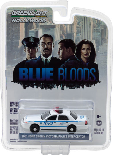 GreenLight 1/64 Hollywood Series 16 - Blue Bloods (2010-Current TV Series) - 2001 Ford Crown Victoria Police Interceptor New York City Police Dept (NYPD) Solid Pack - #44760-D