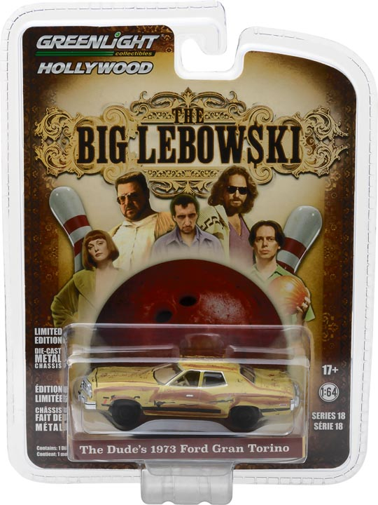 GreenLight 1/64 Hollywood Series 18 - The Big Lebowski (1998) - The Dude's 1973 Ford Gran Torino Solid Pack - #44780-D
