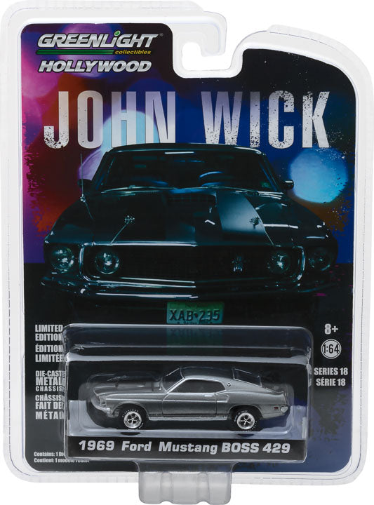 GreenLight 1/64 Hollywood Series 18 - John Wick (2014) - 1969 Ford Mustang BOSS 429 Solid Pack - #44780-E