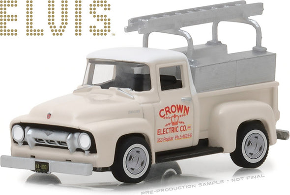 GreenLight 1/64 Hollywood Series 20 - Elvis Presley (1935-77) - 1954 Ford F-100 Truck Crown Electric Company Solid Pack - #44800-B