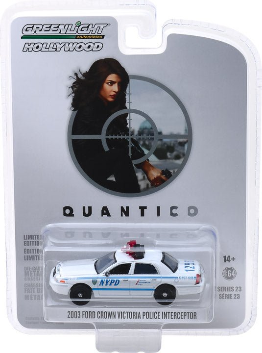 GreenLight 1/64 Hollywood Series 23 - Quantico (2015-18 TV Series) - 2003 Ford Crown Victoria Police Interceptor New York City Police Dept (NYPD) Solid Pack - #44830-F