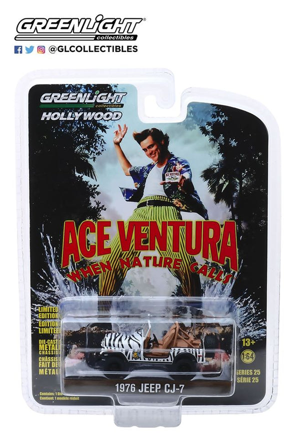 GreenLight 1/64 Hollywood Series 25 - Ace Ventura: When Nature Calls (1995) 1976 Jeep CJ-7 Solid Pack - #44850-A