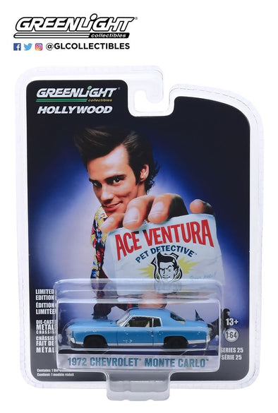GreenLight 1/64 Hollywood Series 25 - Ace Ventura: Pet Detective (1994) 1972 Chevrolet Monte Carlo  Solid Pack - #44850-F