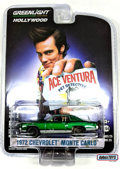 """GREEN MACHINE"" GreenLight 1/64 Hollywood Series 25 - Ace Ventura: Pet Detective (1994) 1972 Chevrolet Monte Carlo  Solid Pack - #44850-F"