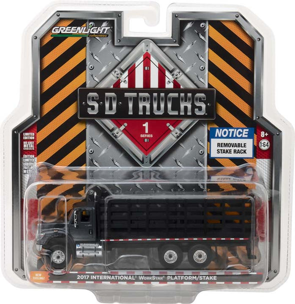 GreenLight 1/64 S.D. Trucks Series 1 - 2017 International WorkStar Platform Stake Truck Solid Pack - #45010-B