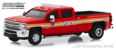 GreenLight 1/64 Dually Drivers Series 2 - 2018 Chevrolet Silverado 3500 Dually - The Official Fire Department City of New York (FDNY) Solid Pack #46020-A