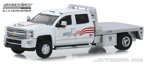 GreenLight 1/64 Dually Drivers Series 2 - 2018 Chevrolet Silverado 3500 Dually Flatbed - USA-1 Solid Pack #46020-B