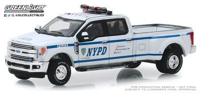 GreenLight 1/64 Dually Drivers Series 2 - 2019 Ford F-350 Dually - New York City Police Department (NYPD) Solid Pack #46020-F