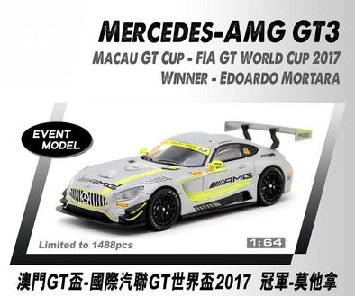 *Limit to TWO per person / address. Tarmac Works HOBBY64 Mercedes-AMG GT3 Macau GT Cup - FIA GT World Cup 2017 Winner Edoardo Mortara - Macau GP 2018 Special Model