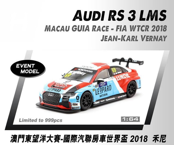 *Limit to TWO per person / address. Tarmac Works HOBBY64 Audi RS 3 LMS WTCR 2018 Jean-Karl Vernay - Macau GP 2018 Special Model