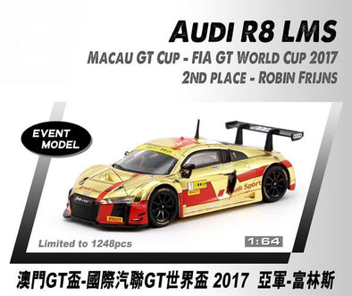 *Limit to TWO per person / address. Tarmac Works HOBBY64 Audi R8 LMS Macau GT Cup - FIA GT World Cup 2017 2nd place Robin Frijns - Macau GP 2018 Special Model