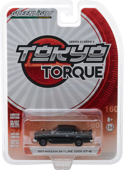 GreenLight 1/64 Tokyo Torque Series 3 - 1971 Nissan Skyline 2000 GT-R - Black Solid Pack #47010-A