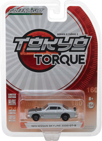 GreenLight 1/64 Tokyo Torque Series 3 - 1972 Nissan Skyline 2000 GT-R - Silver Solid Pack #47010-C