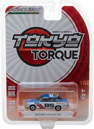 GreenLight 1/64 Tokyo Torque Series 3 - 1972 Datsun 510 - #85 Brock Racing Enterprises (BRE) - Bobby Allison Solid Pack #47010-D