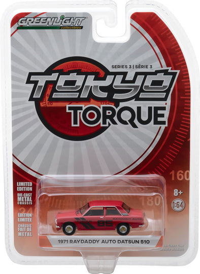 GreenLight 1/64 Tokyo Torque Series 3 - 1971 Datsun 510 - #85 Raydaddy Auto Solid Pack #47010-E