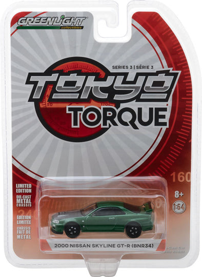 GreenLight 1/64 Tokyo Torque Series 3 - 2000 Nissan Skyline GT-R (R34) - Metallic Green with Black Hood Solid Pack #47010-F