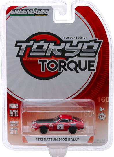 GreenLight 1/64 Tokyo Torque Series 4 - 1972 Datsun 240Z - #5 Monte Carlo Rally Nissan Motor Co. Ltd. Solid Pack #47020-D