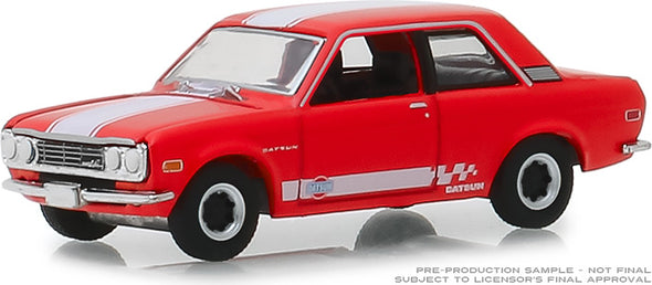 GreenLight 1/64 Tokyo Torque Series 5 - 1970 Datsun 510 Custom - Red with White Stripes Solid Pack #47030-B