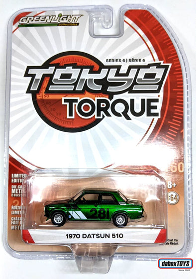 """GREEN MACHINE"" GreenLight 1/64 Tokyo Torque Series 6 - 1970 Datsun 510 #281 Turn Right Racing Solid Pack #47040-A"