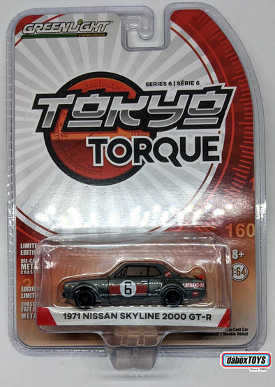 """GREEN MACHINE"" - GreenLight 1/64 Tokyo Torque Series 6 - 1971 Nissan Skyline 2000 GT-R #6 Solid Pack #47040-B"