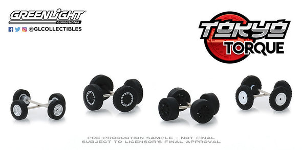 GreenLight 1/64 Auto Body Shop - Wheel & Tire Packs Series 2 - Tokyo Torque #2 Solid Pack  #16030-C