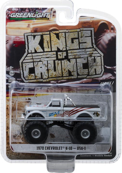 GreenLight 1/64 Kings of Crunch Series 1 - USA-1 - 1970 Chevrolet K-10 Monster Truck Solid Pack #49010-B