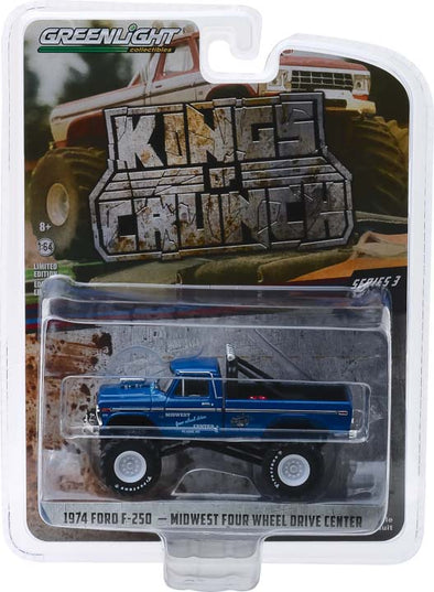 GreenLight 1/64 Kings of Crunch Series 3 - Midwest Four Wheel Drive & Performance Center - 1974 Ford F-250 Monster Truck Solid Pack  #49030-A