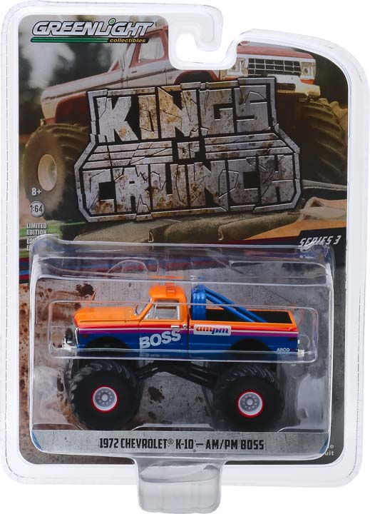 GreenLight 1/64 Kings of Crunch Series 3 - AM/PM Boss - 1972 Chevrolet K-10 Monster Truck Solid Pack #49030-B