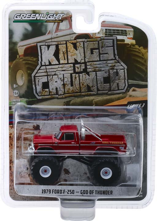 GreenLight 1/64 Kings of Crunch Series 3 - God of Thunder - 1979 Ford F-250 Monster Truck Solid Pack  #49030-E