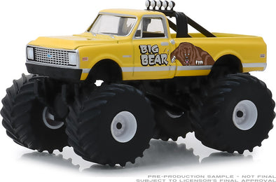 GreenLight 1/64 Kings of Crunch Series 4 - Big Bear - 1972 Chevy C20 Cheyenne Monster Truck Solid Pack #49040-F