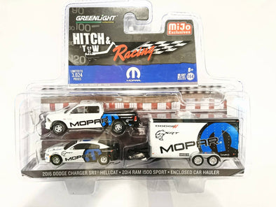 *Limit 2 per person* *Not Avalible For US Customer* GreenLight 1/64 Hitch & Tow Racing Edition - 2014 Ram 1500 & 2016 Charger SRT Hellcat w Enclosed Car Hauler (MOPAR) - M&J Exclusive #51061-D