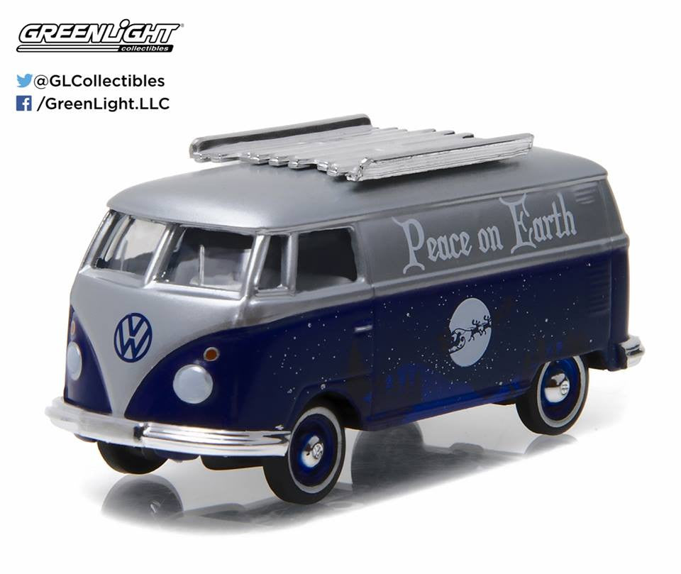 GreenLight 1/64 GreenLight 2016 Holiday Collection - Volkswagen Samba Bus (Peace on Earth Dark Blue/ Silver) #51077-B