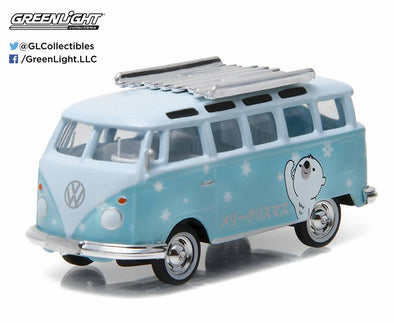 GreenLight 1/64 GreenLight 2016 Holiday Collection - Volkswagen Samba Bus (Japanese Light Blue/ White) #51077-E