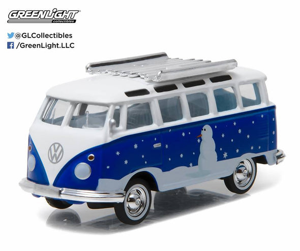 GreenLight 1/64 GreenLight 2016 Holiday Collection - Volkswagen Samba Bus (Snowman Blue/ White) #51077-F