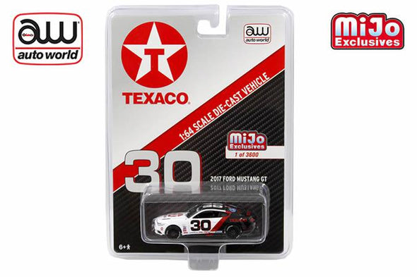 *Limit to TWO per person* Auto World x Mijo 1/64 2017 Ford Mustang GT, Texaco white/black