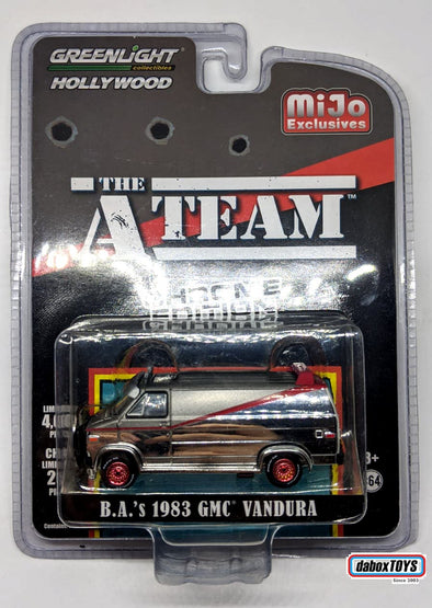 """GREEN MACHINE"" GreenLight 1/64 Mijo Exclusive  - The A-Team (1983-87 TV Series) - 1983 GMC Vandura Chrome Edition - 51225"