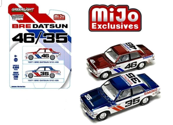 Greenlight 1/64 MiJo 2 Cars Datsun 1971 510  #46 & #35 BRE Chrome #51230