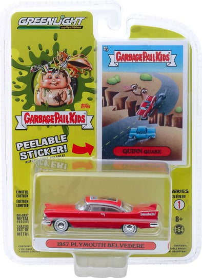 GreenLight 1/64 Garbage Pail Kids Series 1 - Quinn Quake - 1957 Plymouth Belvedere Solid Pack #54010-A